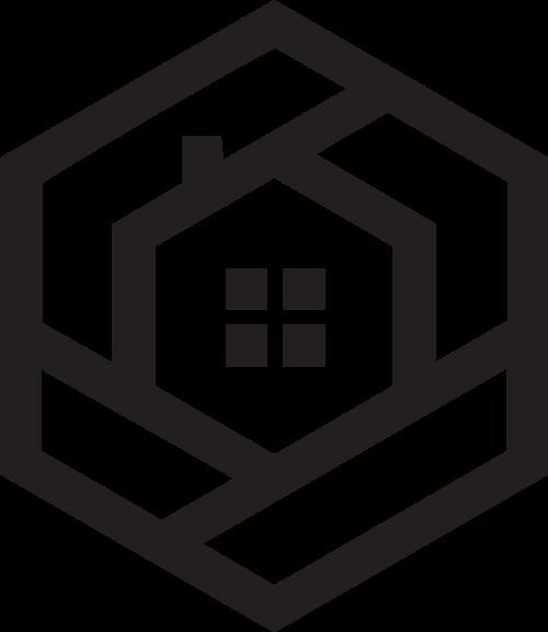 六边形房屋logo矢量图形