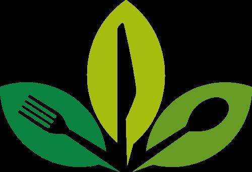 绿色健康餐饮刀叉矢量图形