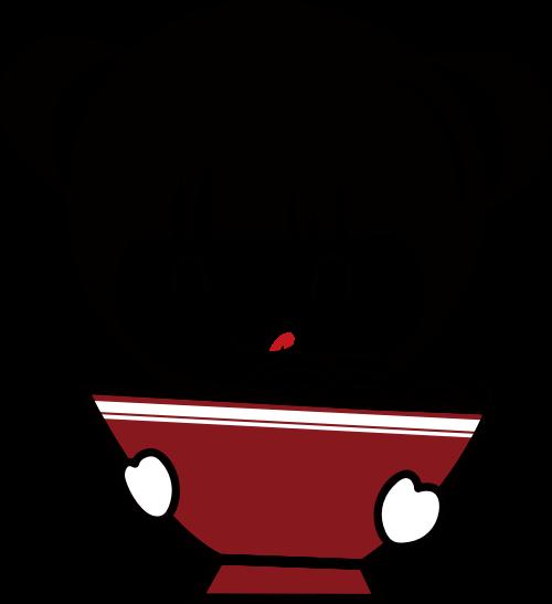 小女孩日式拉面矢量logo图形