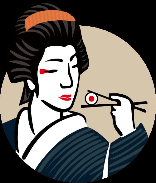 日式料理人物形象矢量图形