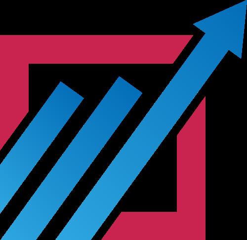 蓝色箭头销售业绩增长相关矢量图标
