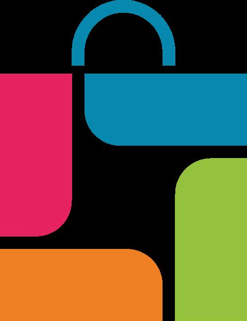 彩色购物袋logo图标素材