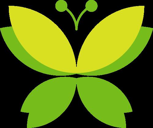 绿色蝴蝶女性美容矢量图形
