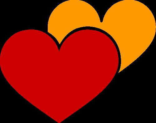 两颗爱心矢量图形