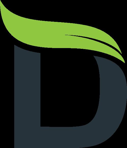 叶子字母D矢量图形