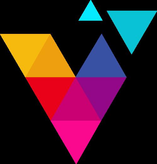 彩色字母V几何图形logo素材