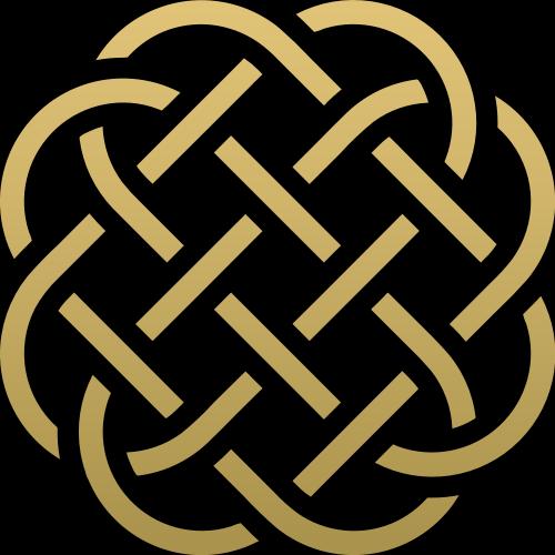 金色圆形中国结图案logo素材