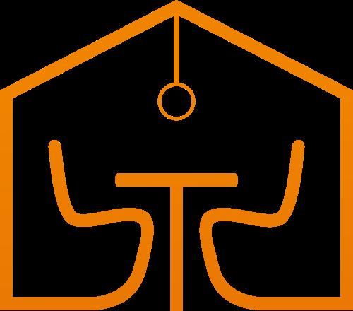 橙色渐变线条家居沙发吊灯矢量图标素材