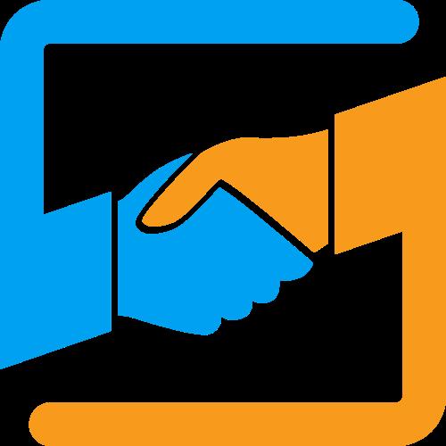 握手交易信任合作相关矢量logo