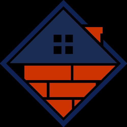 蓝色菱形房屋砖头矢量图标素材