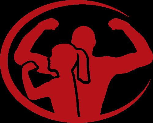 红色椭圆形男士女士运动健身logo图标素材