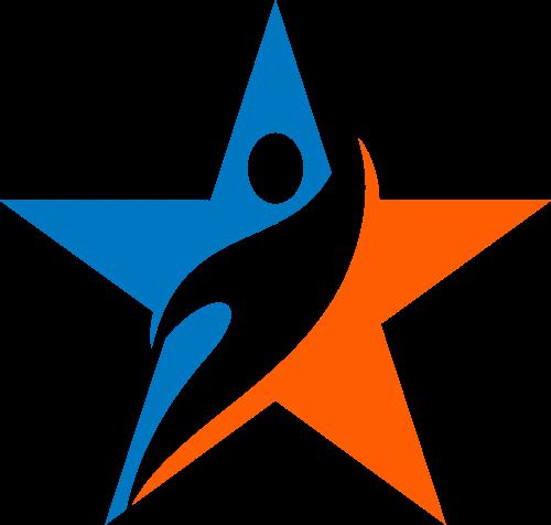 蓝色橙色星形人运动舞动矢量图标素材