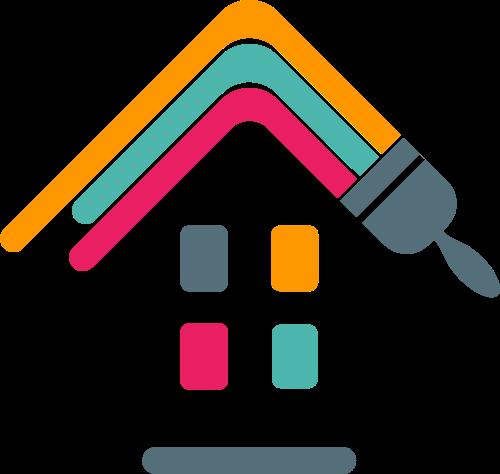 彩色房子刷漆装修logo图标素材