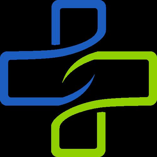 蓝绿色线条医疗十字形矢量图标素材