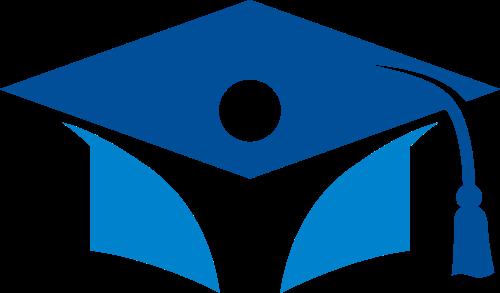蓝色教育培训毕业帽logo矢量素材