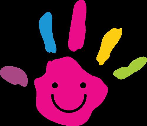 彩色绘画手掌儿童艺术教育logo