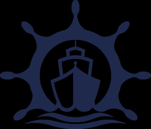 深蓝色轮船航运物流logo图标素材