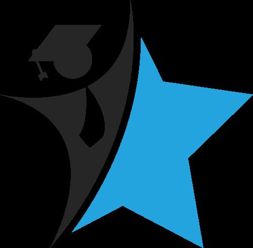 蓝黑色教育博士星星logo图标素材