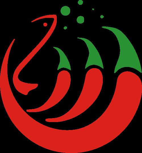 红色辣椒小鱼餐饮火锅餐厅矢量图标素材