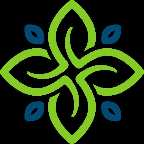 绿色蓝色花朵环保logo图标素材