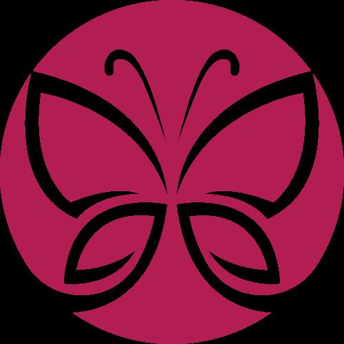 红色圆形女性蝴蝶美容美发logo图标素材