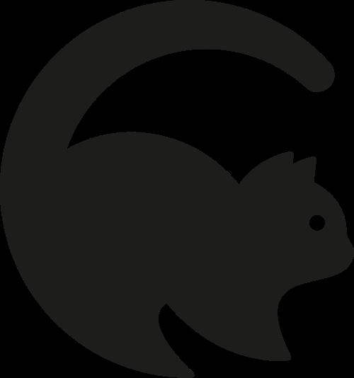 黑色宠物猫矢量图标素材