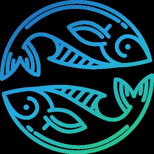 蓝绿色渐变圆形双鱼水产海鲜餐厅矢量图标素材
