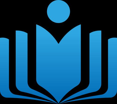 蓝色渐变书本人形教育矢量图标素材