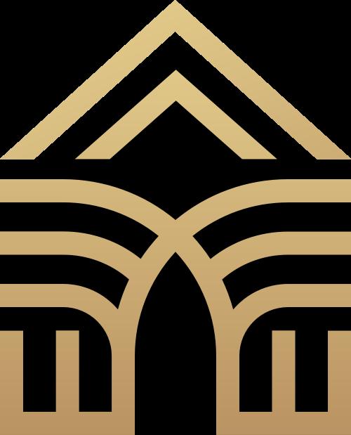 金色渐变房屋地产金融logo图标素材
