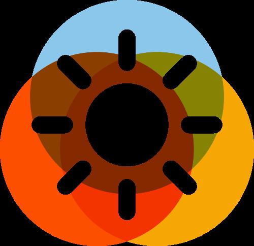 彩色圆形叠加太阳教育logo图标素材