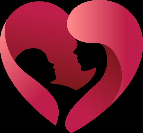 红色立体爱心母婴亲子矢量图标素材
