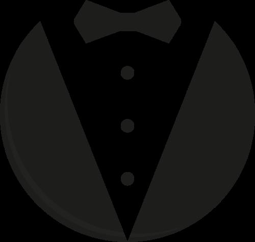 黑色男士西装领结管家服务logo图标素素材
