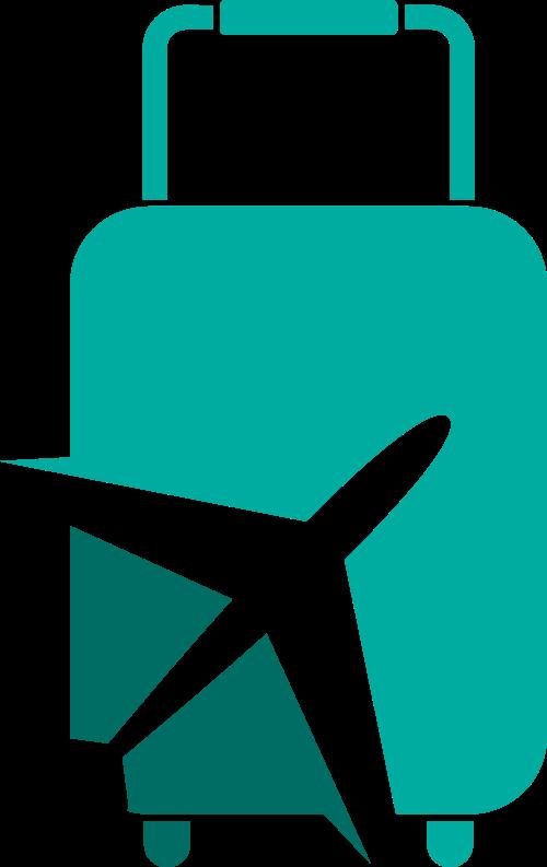 行李箱飞机旅游度假logo图标素材