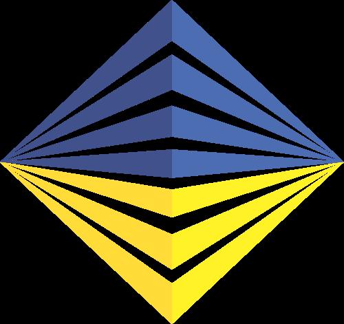 蓝色菱形建筑楼房建材logo图标素材