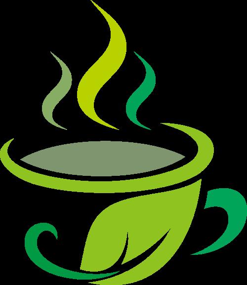 绿叶茶杯茶叶logo图标素材