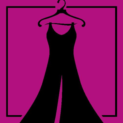 玫红色正方形女士服装服饰衣架矢量图标素材