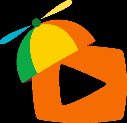 彩色帽子视频传媒儿童教育矢量图标素材