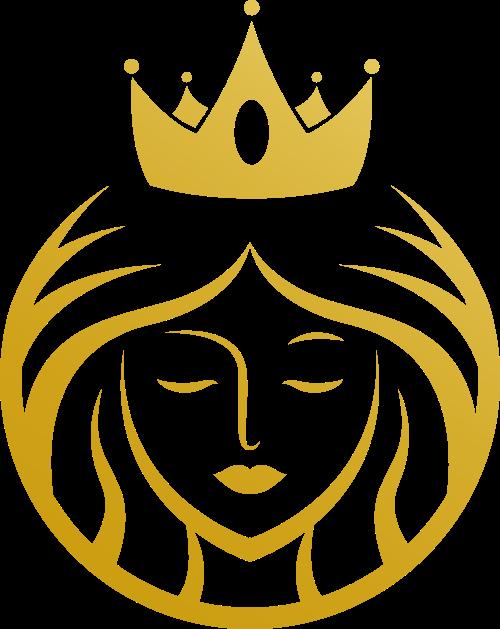 金色女王皇冠美容美发养生会所矢量图标素材