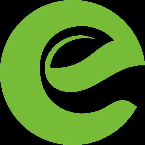 树叶字母E绿色环保科技互联网矢量图标素材