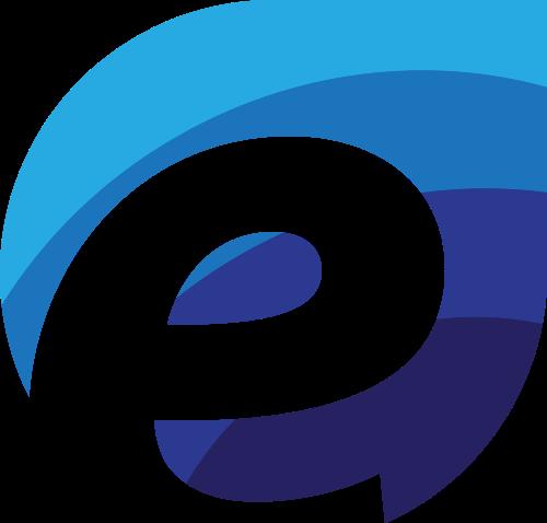蓝色字母E互联网科技矢量图标素材