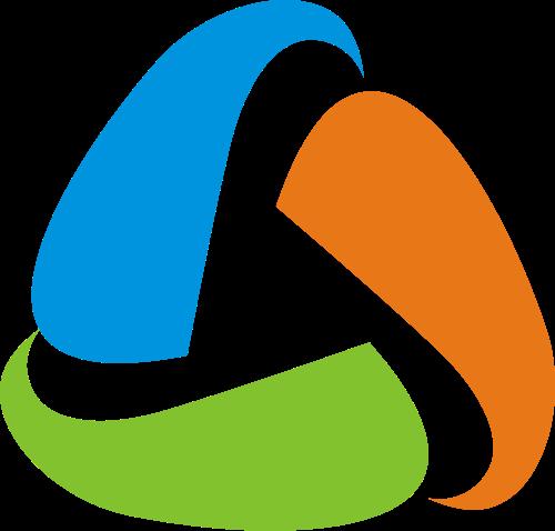 三色环绕三角形文化传媒影音视频矢量图标素材