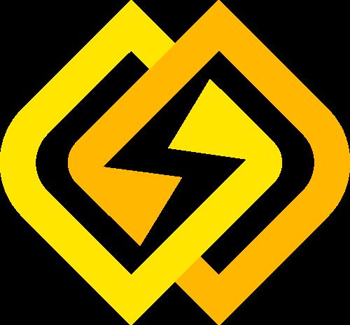 双菱形环绕闪电能源能量矢量图标素材