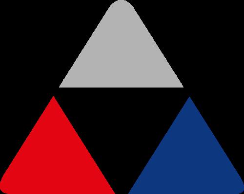 三色圆角三角形商务咨询矢量图标素材