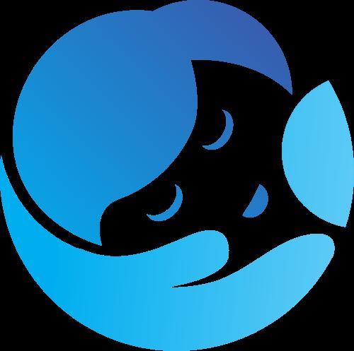 蓝色渐变圆形婴儿logo图标素材