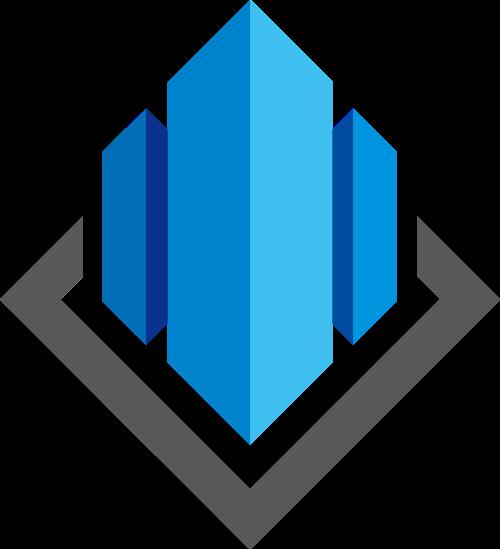 蓝色菱形立体建筑房地产矢量图标素材