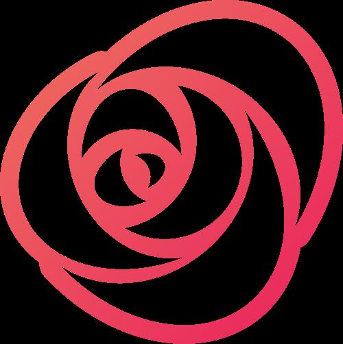简约线条玫瑰花花朵花卉花店矢量图标素材