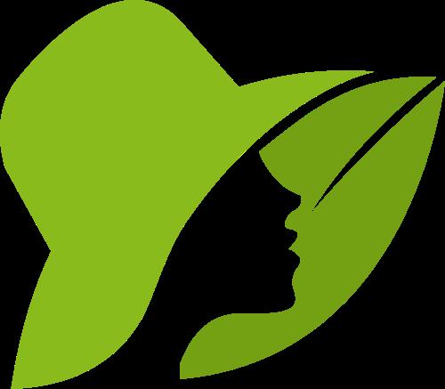 绿叶帽子女性养生健康美容美发矢量图标素材
