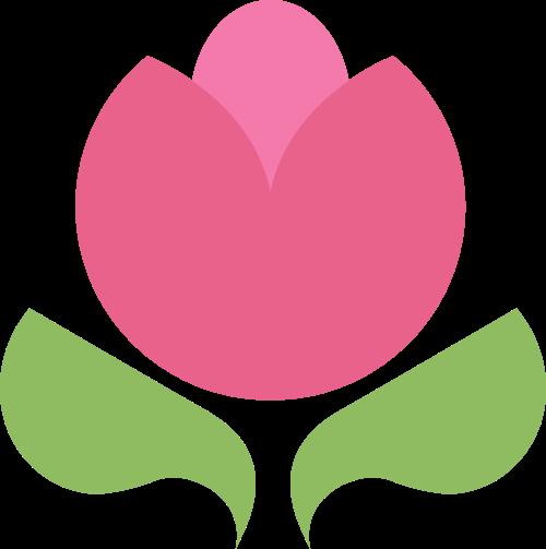 卡通可爱花朵绿叶花店母婴logo图标素材