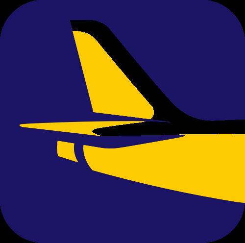 圆角方形飞机航班旅行休闲矢量图标素材