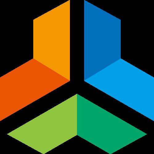 彩色不规则长方体社交文化传媒logo图标素材